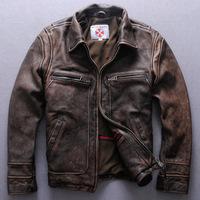 Men's boutique men Retro calfskin genuine leather jacket lapel leather Retro motorcycle racing leather motorcycle suit
