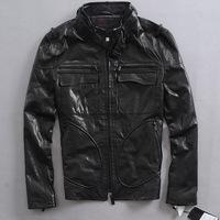 Korean fashion leisure men's Slim genuine leather motorcycle clothing  black jacket coat for man goatskin leather Zipper cuffs
