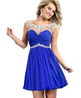 2014 Fabulous Royal Blue Prom Dresses Short beading Party Dress A-Line  prom gown  2015 Custom Made