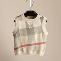Top quality! Brand Children's Cashmere Plaid Sweater Vest Spring Autumn Kids Clothing