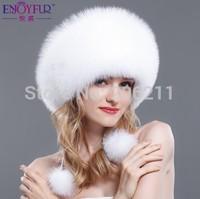 New Fashion Design Winter Classic Warmth Fox Fur Hat Hand-made Whole Fox fur Cap  Noble Princess hat