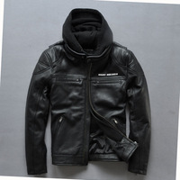 harley model motorcycle jacket genuine Leather Jacket Men hooded leather punk printing thick leather jacket Skull Skeleton head