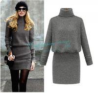 High-necked WooL Casual Dress Spring Autumn Dress Knitting Bag Hip Women Dress Clothing Free Shipping