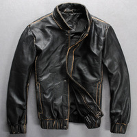 New Korean men black version of the popular  Motorcycle clothing Men's leather Leather Jackets Sheep skin Wild single leather