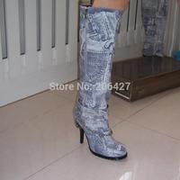 Free Shipping 2014 Fashion Women's Classy Chic Graffiti Denim Upper+Genuine Leather Lining  High-Heel Platform Riding Boots