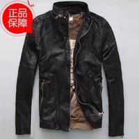 Simple casual Men's Slim genuine leather coat for man do old retro fashion genuine goatskin leather jacket coat for man