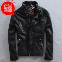 Black Slim short simple collar motorcycle clothing jacket coat genuine leather clothing fashion leather jacket for man sheepskin