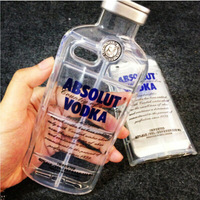 New Style Luxury Transparent Clear absolute Vodka alcohol Wine Bottle TPU Phone Case For Iphone 6 LC001