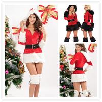 New Arrival christmas costumes womens carnival 3 Piece Hooded Fur Velvet Santa claus Costume B6031