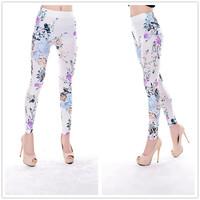 9760 fresh and elegant white roses seamless printing leggings tattoo leggings
