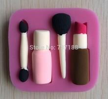 Beautiful and Fashion Makeup Tools Design Fondant Cake Molds Tools Soap Chocolate Mould  Bakeware -C370(China (Mainland))