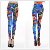 9769 SeaWorld seamless printing colorful blue print leggings tattoo leggings
