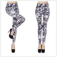 9784 European and American fashion black and white skull print leggings legging pants tattoo leggings