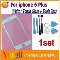 1pcs White For iphone 6 Plus 5.5'' inch New Replacement LCD Front Touch Screen Glass Outer Lens + Tools 7pcs Free Shipping