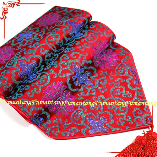 clearance sale silk table runner 2 m Chinese table flag table flag blue flowers on red seasonal goods 05(China (Mainland))
