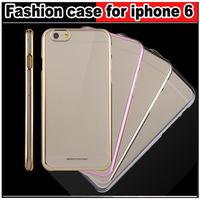 """Fashion Ultra Thin Plating frame HD Transparent Case cover for iphone 6 4.7 """" Phone case,Free shipping"""