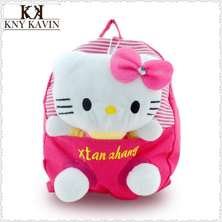 2014Kawaii Children Hello Kitty Plush Toys Cartoon Bags Plush Children Small School Bags Child Backpack For Girls(China (Mainland))