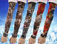 5pcs New Mixed Nylon Elastic Fake Temporary 3D Tattoo Sleeve Designs Body Arm Stockings Tatoo For Cool Men Women Free Shipping