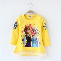 Free Shipping Elsa Anna Frozen Girl's Top  Pullover Girl's Cotton Long Sleeve Shirt Long Sleeve Autumn Frozen Clothes