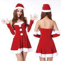 Christmas Women Suit low-cut  Christmas Celebration Party Suit Red Santa Costume Women Sexy Dress CH002