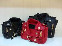 2014  fashion mini nappa leather biker shoulder bag flap bag jacket bag free shipping