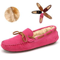 5 color best-selling women's winter shoes warm flat shoes Genuine Leather women Loafers super Comfortable & soft ballet Office