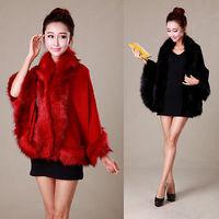 New 2014 Autumn Winter Elegant Fashion Women Lady Imitation fox fur Wool Blend Cape Casual cloak shawl Coat Outfit