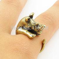 Fashion Vintage Bronze Brass Knuckles Boho Musso Rhinoceros Rhino Animal Wrap Mid Finger Ring Men Wholesale Free Shipping