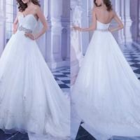 White floor luxury wedding dresses 2014 sexy backless luxury crystal Waist vestidos de noiva com cristal com manga plus size