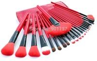 hot sale professional 24pcs makeup brush set tools make-up toiletry kit wool brand make up brush set case free shipping CZ033