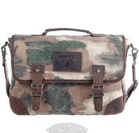 Wholesale fashion vintage men canvas cowhide patchwork handbags ,camouflage color cross body shoulder bags L141AI01