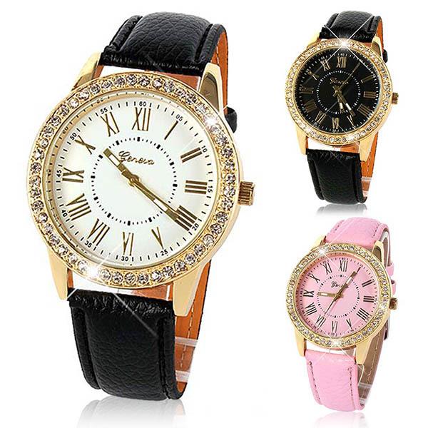 Bling Crystal Watches Women Girl Men Unisex Watch Geneva Faux Leather Strap Analog Quartz Wristwatch Freeshipping(China (Mainland))