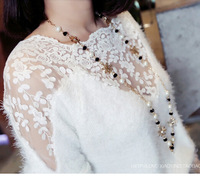 New 2014 Brand Sexy Lace Patchwork Women Mohair Sweaters/Casual Knitted Sweaters Women Pullovers Tops/Designer Women Clothing