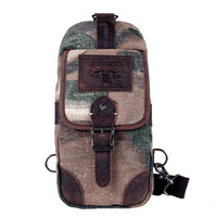 hiphop new fashion casual camouflage male chest packs ,elegant canvas cowhide patchwork cross body bags L141AI05