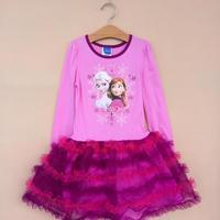 2014 New Fashion FROZEN Elsa princess girl girls Long full sleeve TUTU dresses Free Shipping