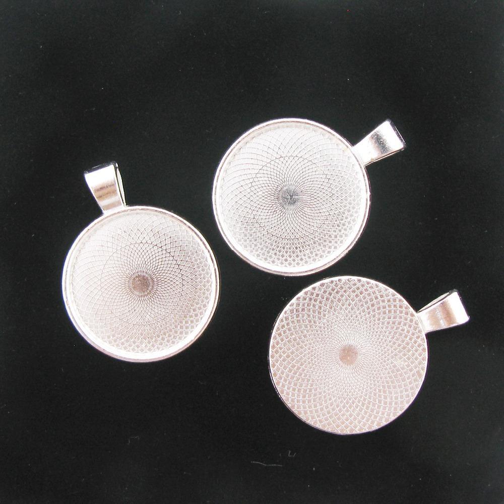 Min order 10$ 10pcs Silver Tone 25MM Round Cameo Cabochon Base setting Charm Pendant Xdtt0001(China (Mainland))