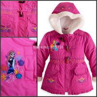 Retail 2014 New Arrival Frozen Children Winter Outwear Girls Cotton-Padded Jacket Kids Coat Christmas Clothes Down & Parkas