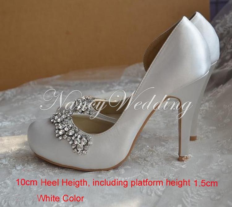 2015 toe white color satin wedding dress shoes