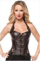 free shipping hot sell wholesale pvc boned sexy rivet decoration brown,black leather corset and bustier top 05342