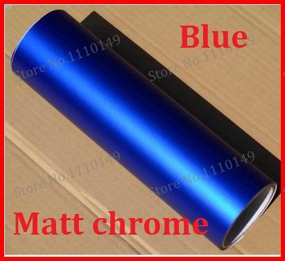 1 PC 1.52x50cm Blue Matt Chrome Vinyl Film Ice Vinyl Car Sticker Chrome matt vinyl Car Warp FREE SHIPPING(China (Mainland))