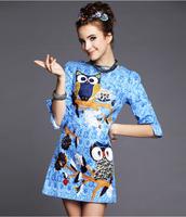 2015 Spring Summer Fashion Runway Women's Vintage Dress Elegant Slim Half Sleeve Owl Cartoon Blue Printed Women Dresses  A173