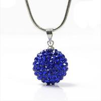 """PRETTY ! 10MM  Shamballa Bead 925 Sterling Silver Prrety  Disco Ball Pendant Necklace 24"""""""