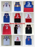 Stitched Philadelphia #3 Allen Iverson White Black Blue 10 Anniversary Two Tone Nickname The Answer Basketball Jerseys