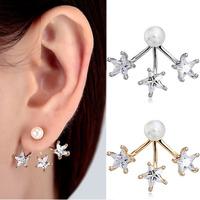925 Sterling Silver/Gold Star Pearl Stud Earrings Women Fashion Wholesale 1 Pair Earrings Rhinestone 2014 Jewelry Top Quality