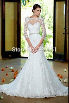 На заказ эфирный кружево русалка свадебное платье три четверти рукава свадебное платье