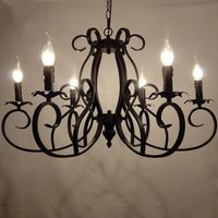 Classic European Fixture Wrought Iron Chandeliers 6 heads Pandant Lamp Ceiling E14 led bulbs 90-260V