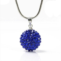 """10MM  Shamballa Bead 925 Sterling Silver Charming Disco Ball Pendant Necklace 18"""""""