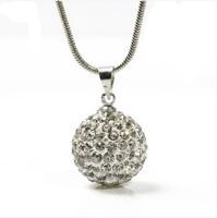 "NEW!!!10MM  Shamballa Bead 925 Sterling Silver Disco Ball Pendant Necklace 16"""