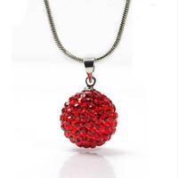 "ROMANTIC! 10MM  Shamballa Bead 925 Sterling Silver Disco Ball Pendant Necklace 20"""