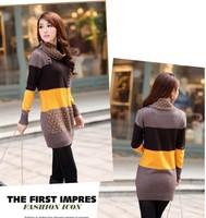 New Arrival Spring Fashion 2014 Brand Turtleneck knitted Sweater women Slim long sweaters Knitwear coat winter dress #90dl